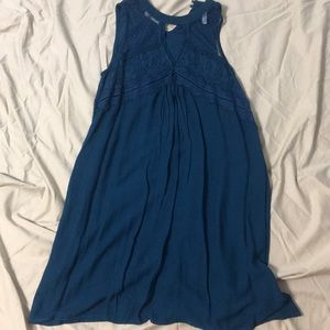 blue dress, with lace at the top!